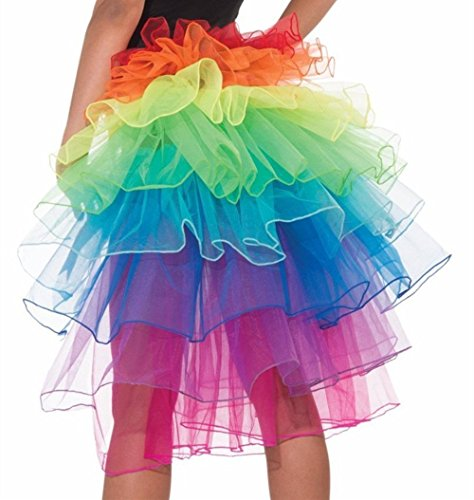 [Women's Layered Organza Rainbow Bustle Dancing Long Tail Bubble Skirt] (Labor Day Parade Costumes For Sale)