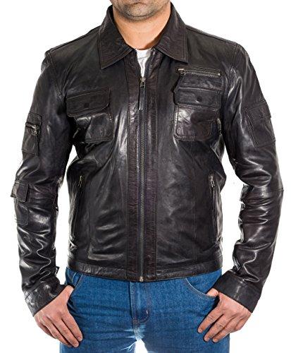 Uomini Stile Stile Elegante Giacca Del Di Con Pelle Collare Camicia Moto Nero nxBvUWnr