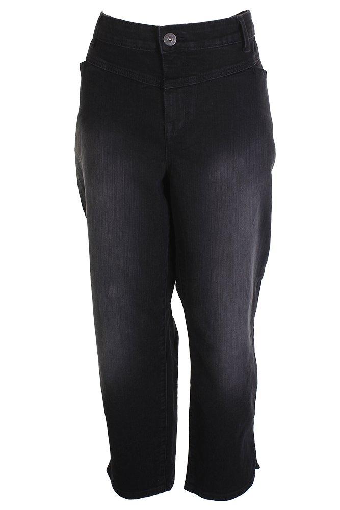 Style & Co. Womens Plus Denim Split-Hem Ankle Jeans Black 24W