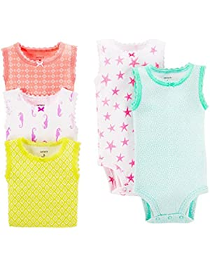 Baby Girls' 5 Pack Tank Bodysuits (Baby) - Assorted