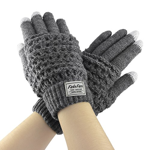 Fakeface Knitted Wool Touch Screen Texting Gloves for All Touchscreen Electronic Devices for Women/Ladies/Girls; Great Gift for Christmas/Birthday/New Year (Grey) Gifts For Women