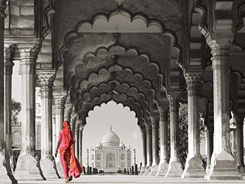 Woman in Traditional Sari Walking Towards Taj Mahal (BW) by Pangea Images Art Print, 19 x 14 inches (Best Images Of Taj Mahal)