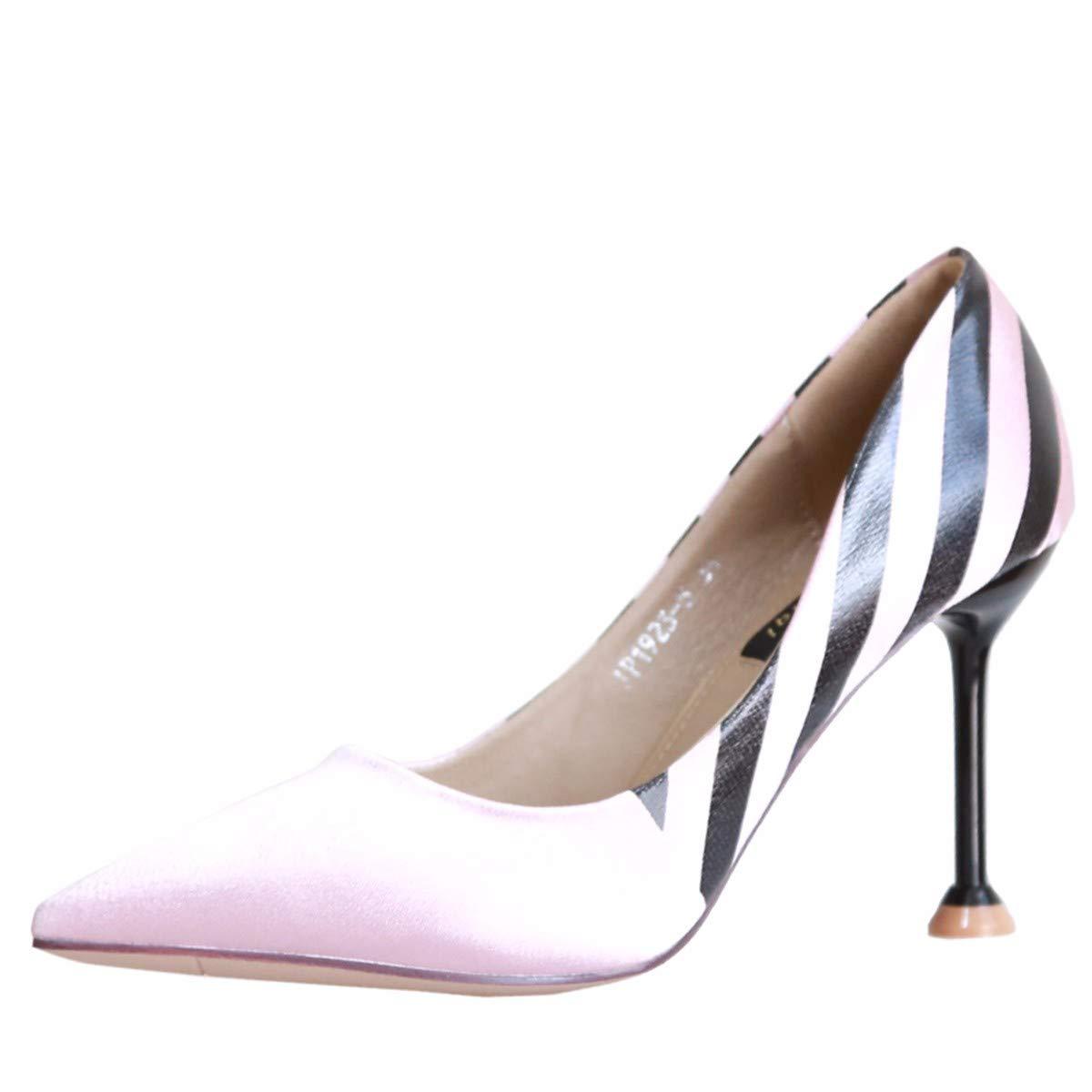 KPHY Damenschuhe/Herbst Gut Mit 9Cm Hochhackige Schuhe Sexy Farben Damenschuhe Starken Starken Damenschuhe Kopf Flach Mund Temperament Schuhe.36 Pink- 11fd07