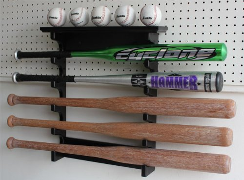 5 Baseball Bat Hanger Display Rack Holder, Solid Wood, Good Alternative to Display Case, (Black Finish) by DisplayGifts