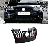 VioletLisa 1pc Black With Red Strip ABS Plastic Honeycomb Mesh Style Grille w/ Chrome GTI Emblem Fit 06-09 Volkswagen GTI / Jetta MK5 (Except Rabbit / R32)