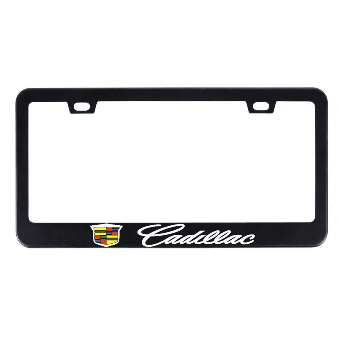 Deselen - EBS-BT11 - Stainless Steel Cadillac License Plate Frame with Screw Caps Cover Set, Matte Black (2 Pieces)