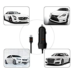 VoltronTek Car Charger with Extra Length Built-in Lightning Connector for iPhone 6S Plus 6 Plus 6 Se 5S 5 5C iPad Pro Air Mini 2 3 4 and Extra USB Port for Android
