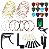 Auihiay 46 PCS Guitar Strings Changing Kit Guitar Tool Kit Including Guitar Strings Guitar Tuner...