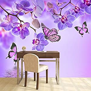 Charming Purple Flower Wall Mural Floral Butterfly Photo Wallpaper Girls Bedroom  Decor Available In 8 Sizes X Large Digital Part 27