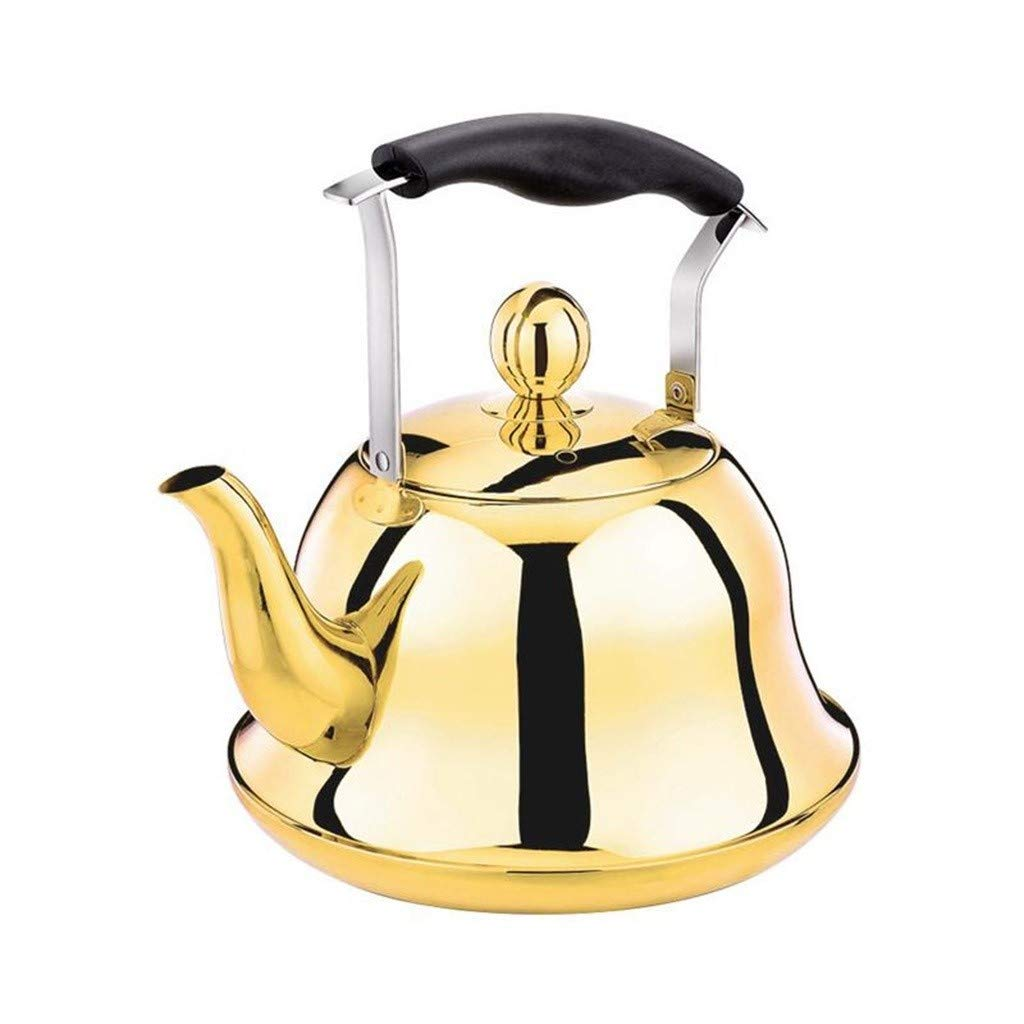 Stainless Steel Tea Kettle Whistling Teapot With Soft Grip Anti-Hot Handle For Induction Cooker Natural Gas Household Commercial Restaurant (Color : A, Size : 3L) by ANXI