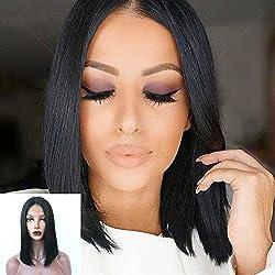"Dovie Hair Glueless Silky Straight Short Bob Wig Brazilian Virgin Human Hair Wigs for Women Middle Part (12"", Color #1B)"