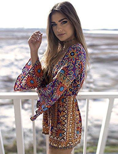 Cooshional Damen Jumpsuit Sommer Overall Romper Baumwolle Einteiler Playsuit Muster Blumenmuster (Size 42) Farbe Mehrfarbig