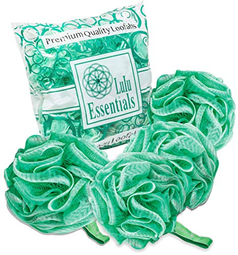 Lulu Essentials Premium Quality Green Loofah (4 pack) Bath and Shower Sponge, Mesh Pouf Body Loofah, Scrubber Puff (Green)