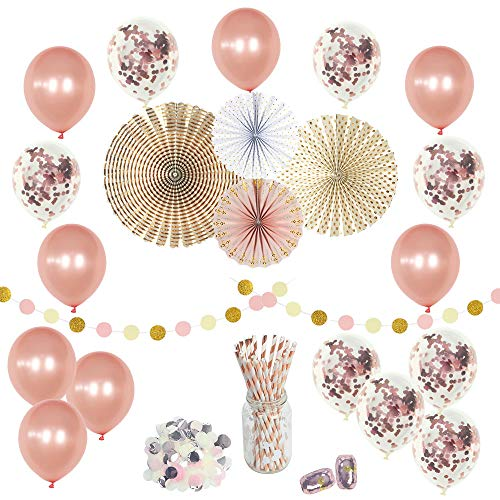 Rose Gold Party Decorations Set-(50 pc) -Happy Birthday Confetti Balloons 12 in- Perfect for Girls Birthday Baby Bridal Wedding Shower Engagement Graduation Celebration Paper Fans & Straws -