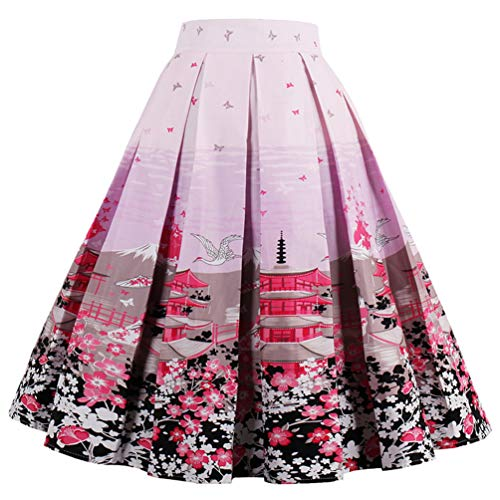 Dressever Women's Vintage A-line Printed Pleated Flared Midi Skirts Cherry-Blossoms X-Large