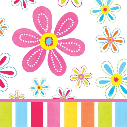 Creative Converting Pink Flower Cheer 16 Count 3-Ply Paper Lunch Napkins ()