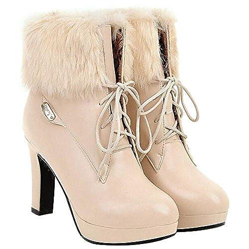 0c5678c6a0a 70%OFF F2Y Women's Round Toe Lace Up Ankle Boots Autumn Winter ...