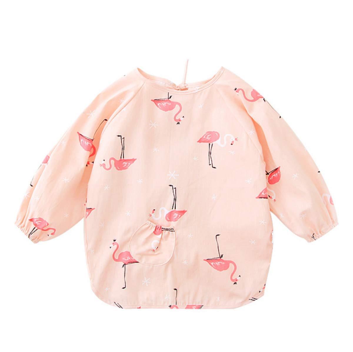 Flamingo,2-3Y Delantales ni/ños 1-3 a/ños Tokkids Bebe Delantal Babero Algodon con Mangas