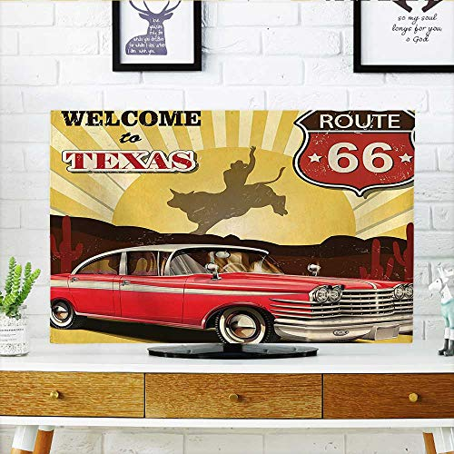 ver Welcome to Texas Signboard Poster with Cadillac Art Car Cowboys Town Rodeo Dust Resistant Television Protector W19 x H30 INCH/TV 32