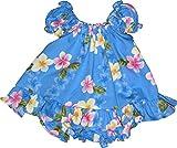 RJC Baby Girl's Cute Plumeria Puff Sleeve Hawaiian 2 Piece Dress Set Blue 12-months