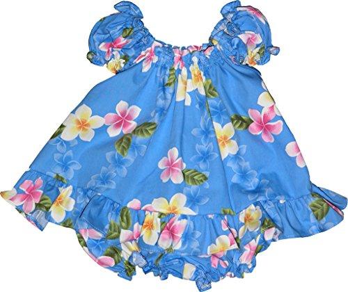 RJC Baby Girl's Cute Plumeria Puff Sleeve Hawaiian 2 Piece Dress Set Blue 4T by RJC (Image #1)