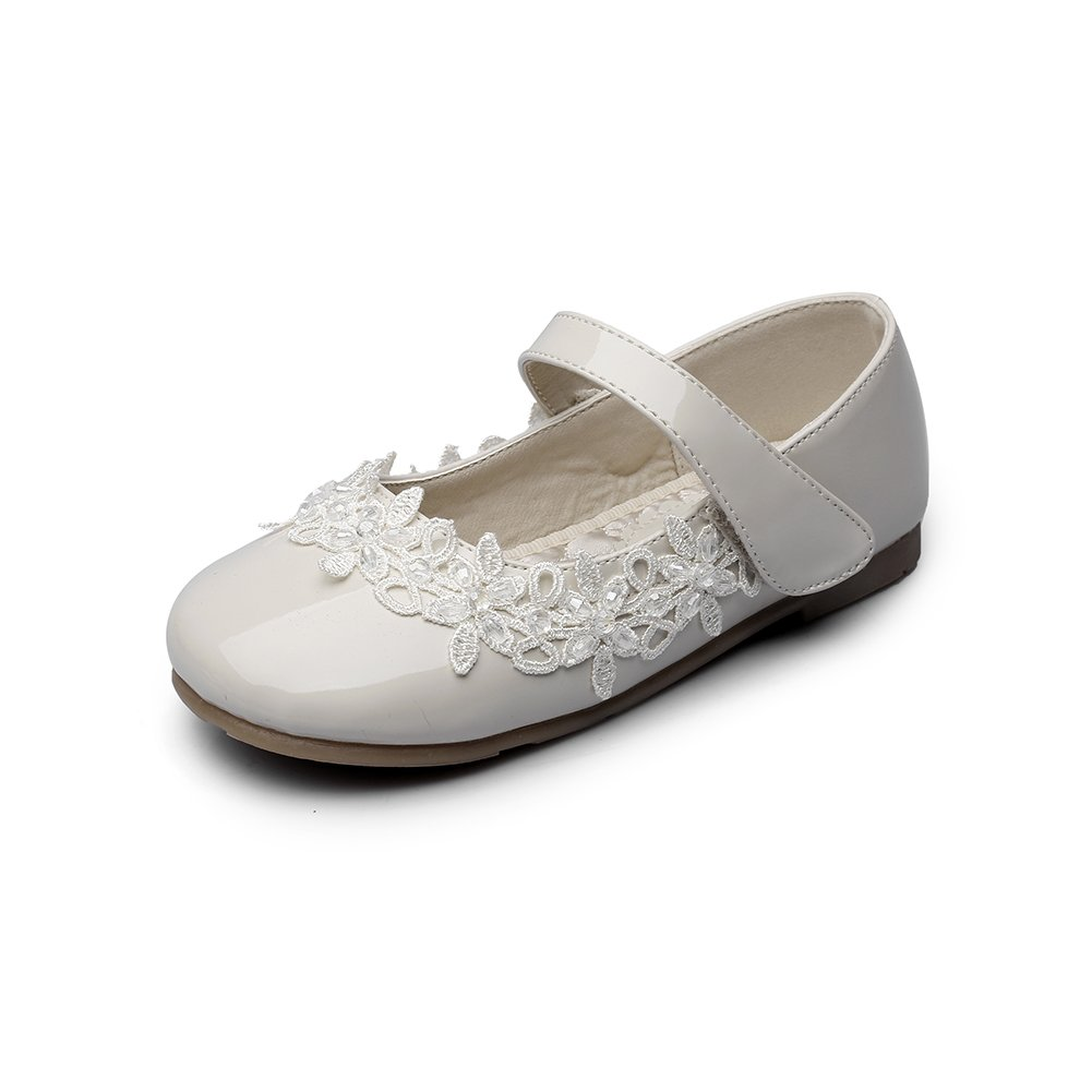 Chiximaxu Maxu Toddler Girl Marry Jane Flat Shoes Easy Strap Offwhite Little Kid 12M