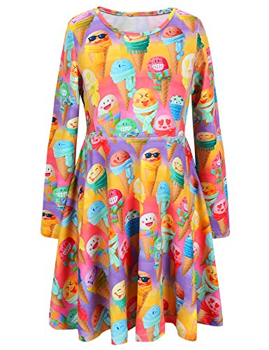 Jxstar girls size 10 big girls 10-12 kids 10-12 halloween costume AM70923 150 Rainbow Icecream Fall 10-11Years Height 57in -