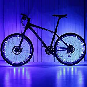 Ezyoutdoor 2.2M Cool Shining Waterproof 2 Modes 20 LED Flash Light Colorful USB Charge Bicycle Lights - Bicycle Wheel Spoke / Light String (1 pack) - Colorful Bicycle Tire Accessories (Blue)