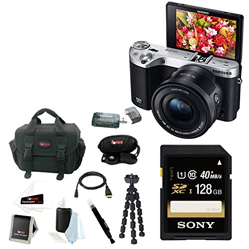 Samsung NX500 Mirrorless Digital Camera with 16-5mm Power Zoom Lens (Black) + Sony 128GB SDHC/SDXC Memory Card + Focus DSLR Camera Accessory Kit with Micro HDMI Cable