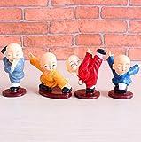 UChic 4PCS/Set Gongfu Little Monk Figurines Ornament Car Dolls Decoration Home Decor Shaolin China Style Monks Temple Toys Car Accessories Ornament