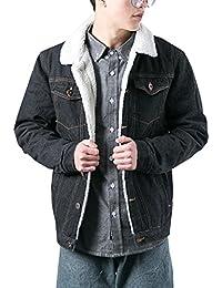 Men's Winter Fleece Lined Fur Collar Denim Jacket Coats 2018