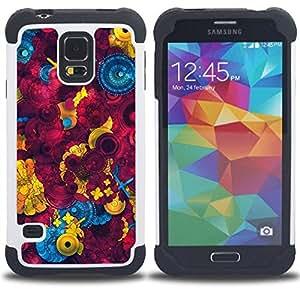 """Pulsar ( Coser Resumen Castaño"""" ) SAMSUNG Galaxy S5 V / i9600 / SM-G900 V SM-G900 híbrida Heavy Duty Impact pesado deber de protección a los choques caso Carcasa de parachoques [Ne"""