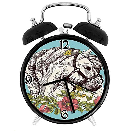 one-six-one Boho Horse Opium Blossoms Poppy Wreath EquestrianDesk Clock Home Office Unique Decorative Alarm Ring Clock 4in