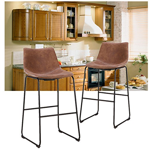 LCH 29 Inch Vintage Faux Leather Bar Stools- Antique Set of 2, Upholstered Barstools with Black Finish Frame and Floor Protector for Bar, Counter, Kitchen, Brown (Set Antique Brown Finish)