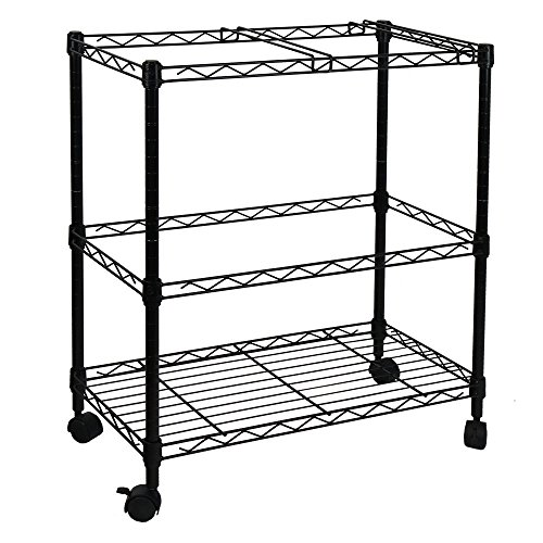 Wegi King Sturdy 2-Tier Metal Rolling File Cart Portable File Cart for Letter Size and Legal Size Folder Home Office with 4 Rolling Wheels by Wegi King