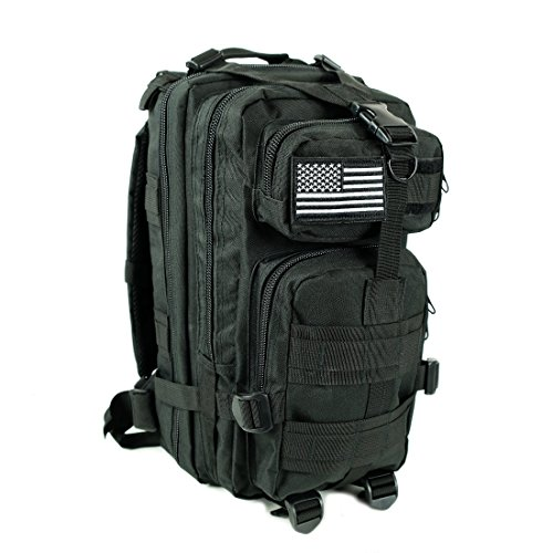 Military Tactical Backpack Army Combat 3 Day Assault Pack Molle Bug Out Bag Rucksacks for Outdoor Hiking Camping Trekking Traveling and Hunting with Flag Patches (BLACK, - Surplus Sunglasses Army