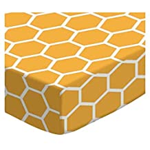 SheetWorld Fitted Portable / Mini Crib Sheet - Mustard Yellow Honeycomb - Made In USA by sheetworld