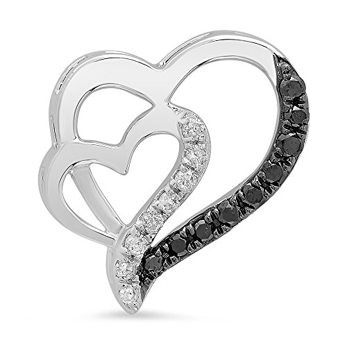 0.20 Carat (ctw) 10K White Gold Round Black & White Diamond Ladies Fashion Heart Pendant 1/5 CT (Chain Not Included)
