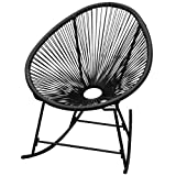 vidaXL Outdoor Garden Rocking Chair Sun Lounger Seat Oval-shaped Poly Rattan Black