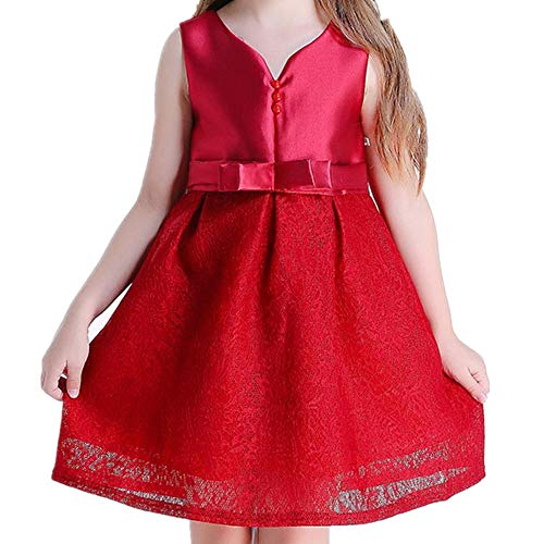 Grow Easter Lily (SUNNY Store Girls Party Dress Princess Flowers Wedding Dresses Toddler Baby Pageant(Red-150cm(8-9 Years)))