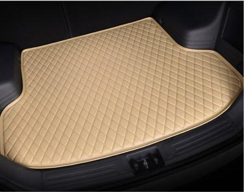 Leather Car Rear Trunk Mat Waterproof Handmade Cargo Liner for Jaguar XE 2015-2017(Beige) by Seven-flower