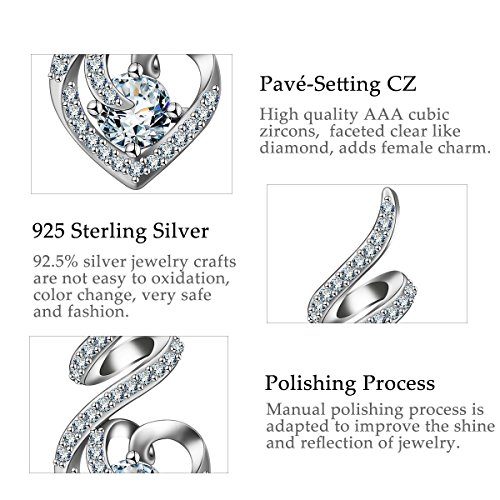 EUDORA Sterling Silver CZ Heart Pendant Necklaces Jewelry for Mother & Daughter,18'' Chain by EUDORA (Image #8)