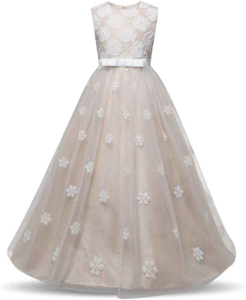 AIOJY Pettiskirt Vestidos De Niña De Las Flores Vestido De Bautizo Vestido De Princesa Flores Bordadas para Niñas Ocasión Especial Y Primera Comunión Partido Regalo De Cumpleaños,160cm