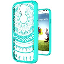 S4 Case,Galaxy S4 Case Clear Phone Cover TPU with HD Screen Protector, AnoKe [Scratch Resistant] Mandala Flower Cute Women Girl Acrylic Thin Slim Fit Protective Cover For Samsung Galaxy S4- TM CH Mint