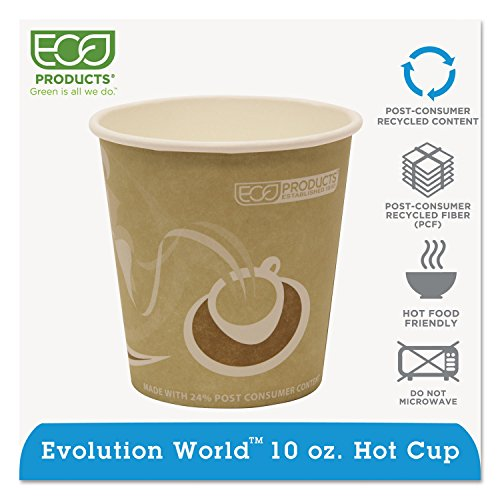 Evolution World 24% Pcf Hot Drink Cups, 10oz, Tan, 1000/carton By: Eco-Products