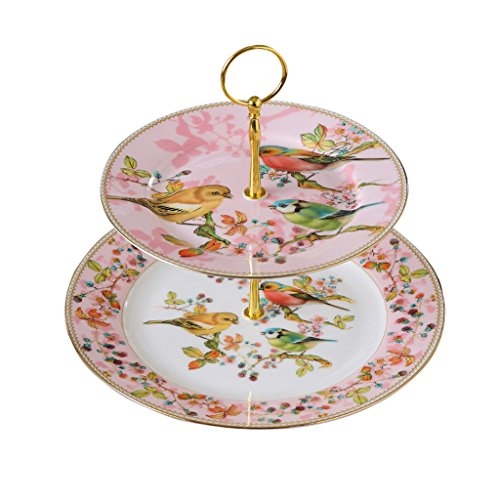 Coffee Set English Ceramic Household Tea Kettle Cup Saucer Dessert Rack Continental Double Fruit Plate Pink Gift Box (Send Cup (English Bone China Dessert Plate)