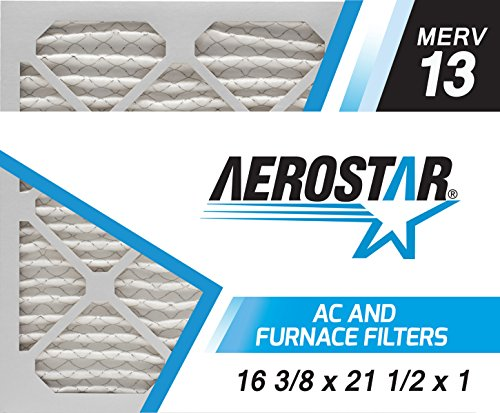 Aerostar 16 3/8x21 1/2x1 MERV 13, Pleated Air Filter, 16 3/8x21 1/2x1, Box of 4, Made in the USA