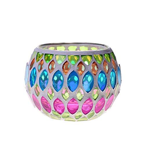 Kloud City 1 Mosaic Lamp Color Glass Light Ball Tea Light Votive Candleholder For Wedding Gifts Garden Festival Sunflower (Holders Mosaic Tealight)