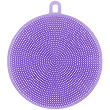 Fabal Silicone Brush Magic Dish Bowl Pot Pan Wash Cleaning Brushes Cooking Tool Cleaner Sponges Scouring Pads Kitchen Accessories (Purple)