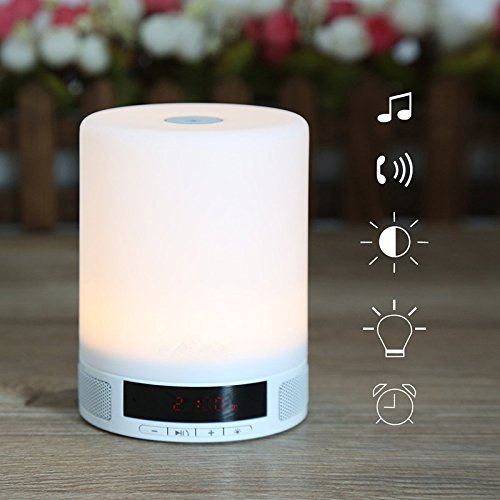Elinkume® LED Nacht Licht Wireless Bluetooth Lautsprecher Touch Control Lampe Alarm multifunktional/Support TF-Karte/USB-Eingang /Night Lesung Licht Kids Home Deco große